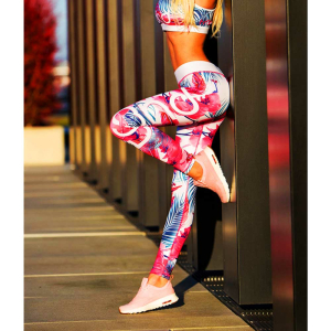 Tr3nd Clothing Tights Flower White Pink