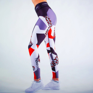 ICANIWILL Tights Leopard Red White Women