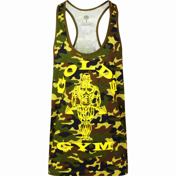 Golds Gym Classic Stringer Tank Top Camo Green